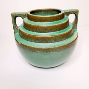 Vintage Catalina pottery step vase green 1930s